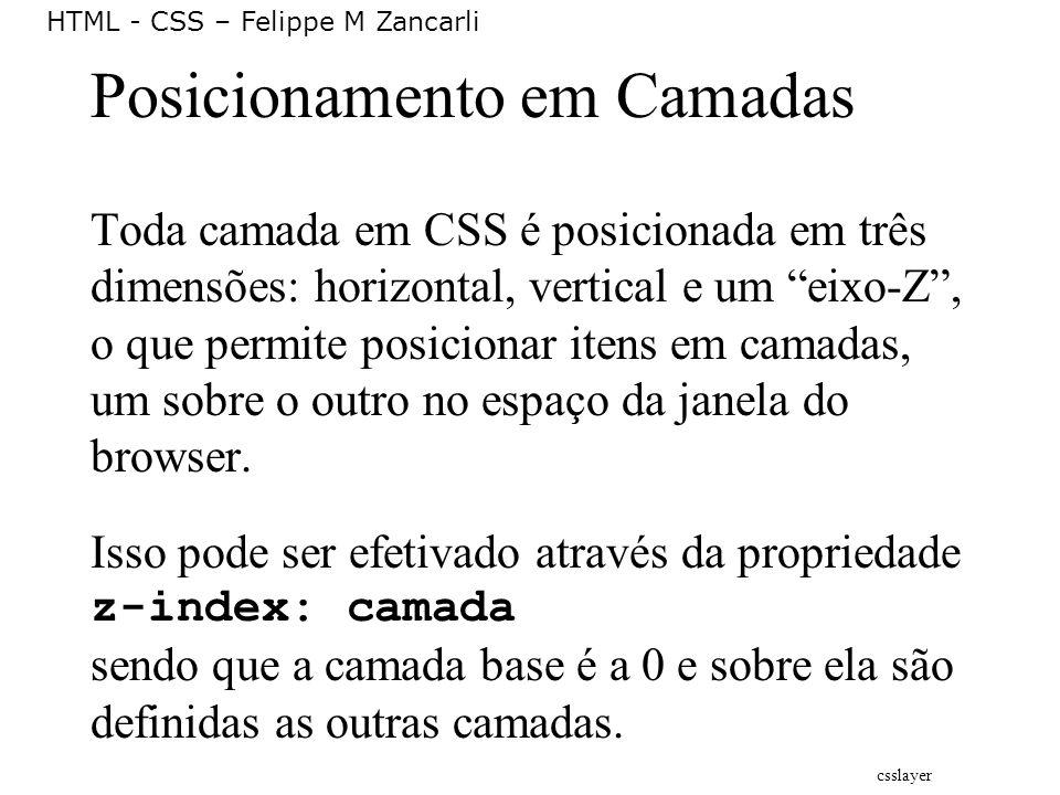 HTML - CSS – Felippe M Zancarli Posicionamento em Camadas Toda camada em CSS é posicionada em três dimensões: horizontal, vertical e um eixo-Z, o que
