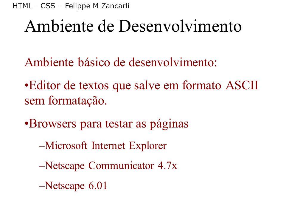 HTML - CSS – Felippe M Zancarli Ambiente de Desenvolvimento Ambiente básico de desenvolvimento: Editor de textos que salve em formato ASCII sem format