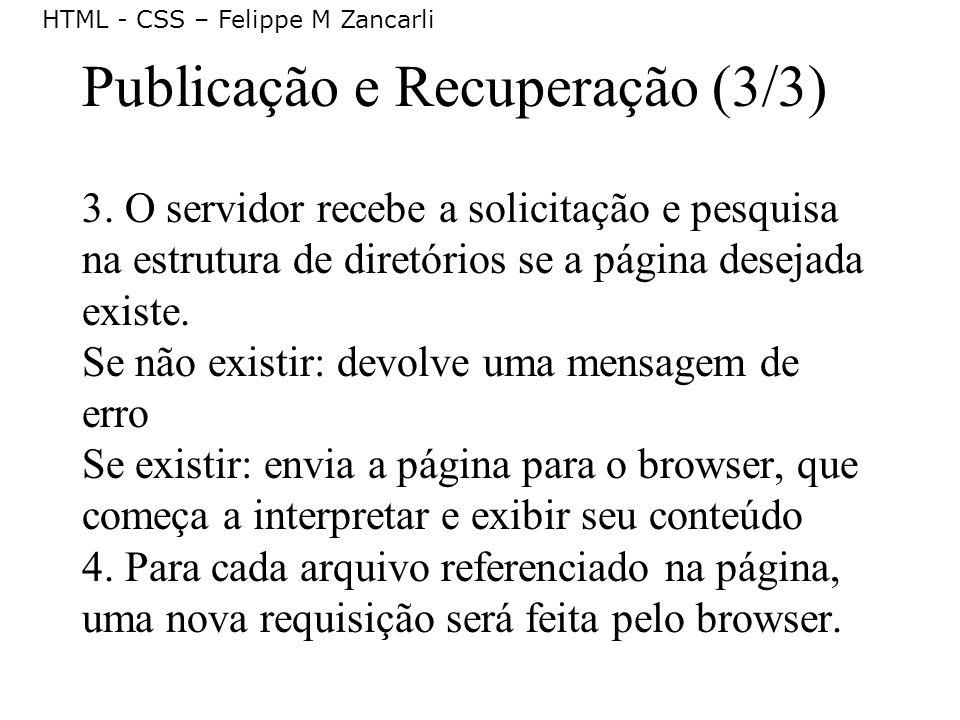 HTML - CSS – Felippe M Zancarli Publicação e Recuperação (3/3) 3. O servidor recebe a solicitação e pesquisa na estrutura de diretórios se a página de