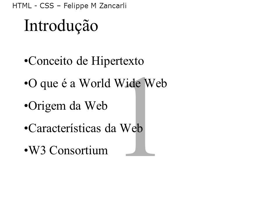 HTML - CSS – Felippe M Zancarli Conceito de Hipertexto Hipertexto é um texto construído para ser não- linear, contendo pontos de ligação para outros textos.