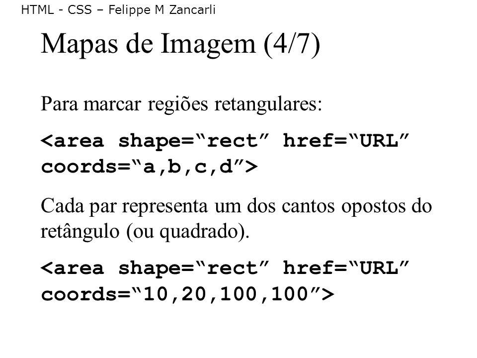 HTML - CSS – Felippe M Zancarli Mapas de Imagem (4/7) Para marcar regiões retangulares: Cada par representa um dos cantos opostos do retângulo (ou qua