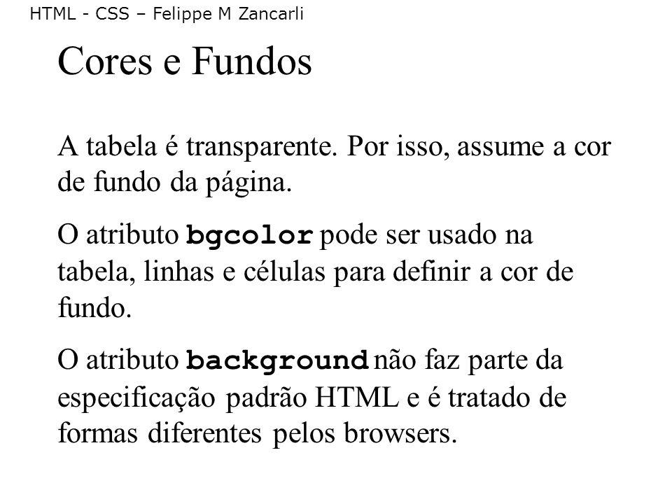 HTML - CSS – Felippe M Zancarli Cores e Fundos A tabela é transparente. Por isso, assume a cor de fundo da página. O atributo bgcolor pode ser usado n