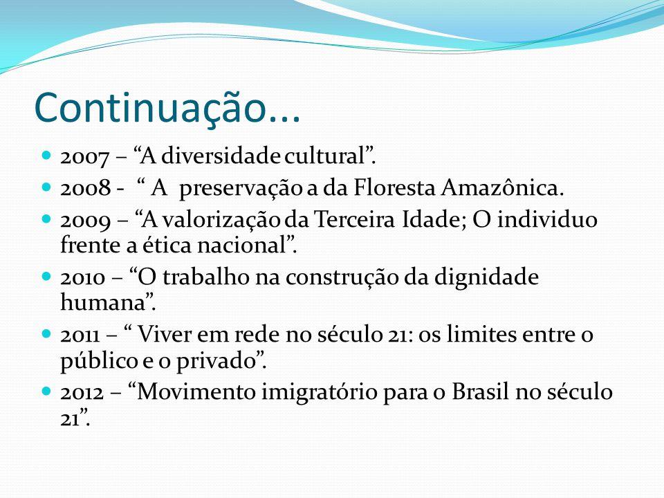 Continuação... 2007 – A diversidade cultural. 2008 - A preservação a da Floresta Amazônica. 2009 – A valorização da Terceira Idade; O individuo frente