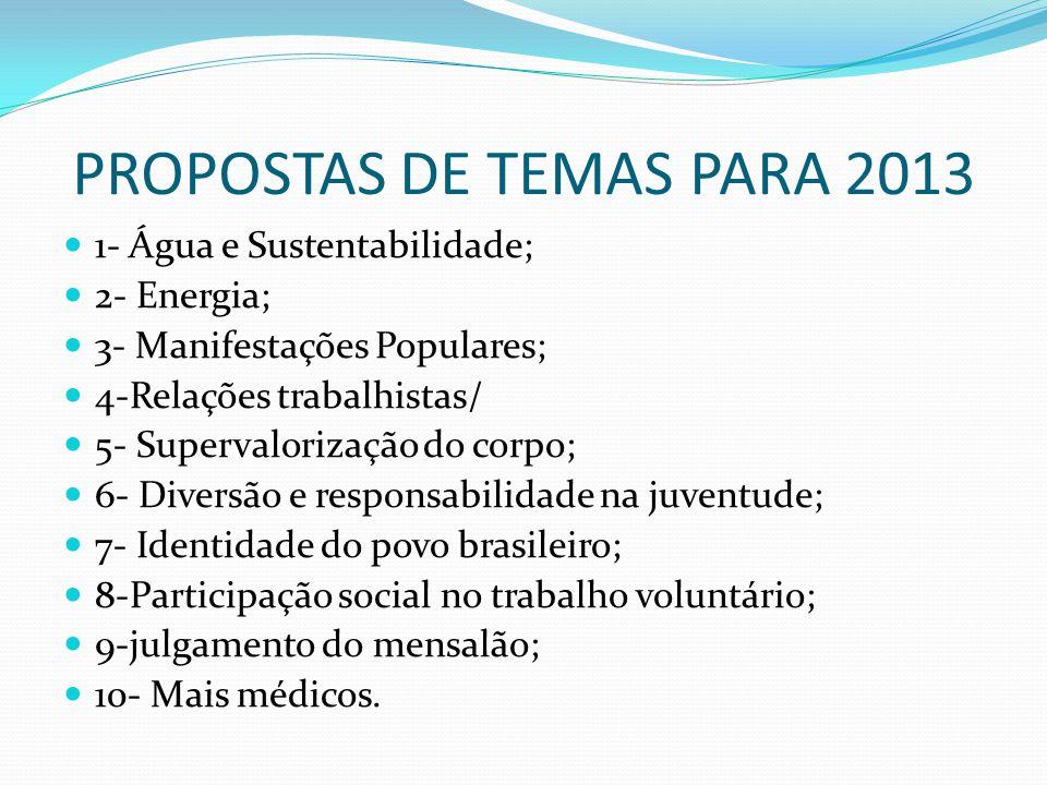 PROPOSTAS DE TEMAS PARA 2013 1- Água e Sustentabilidade; 2- Energia; 3- Manifestações Populares; 4-Relações trabalhistas/ 5- Supervalorização do corpo