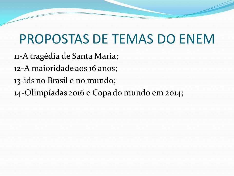 PROPOSTAS DE TEMAS DO ENEM 11-A tragédia de Santa Maria; 12-A maioridade aos 16 anos; 13-ids no Brasil e no mundo; 14-Olimpíadas 2016 e Copa do mundo