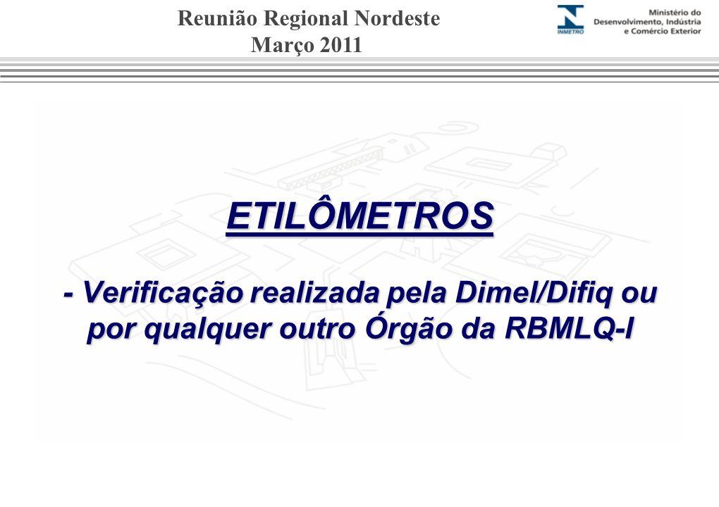 ETILÔMETROS - Verificação realizada pela Dimel/Difiq ou por qualquer outro Órgão da RBMLQ-I Reunião Regional Nordeste Março 2011