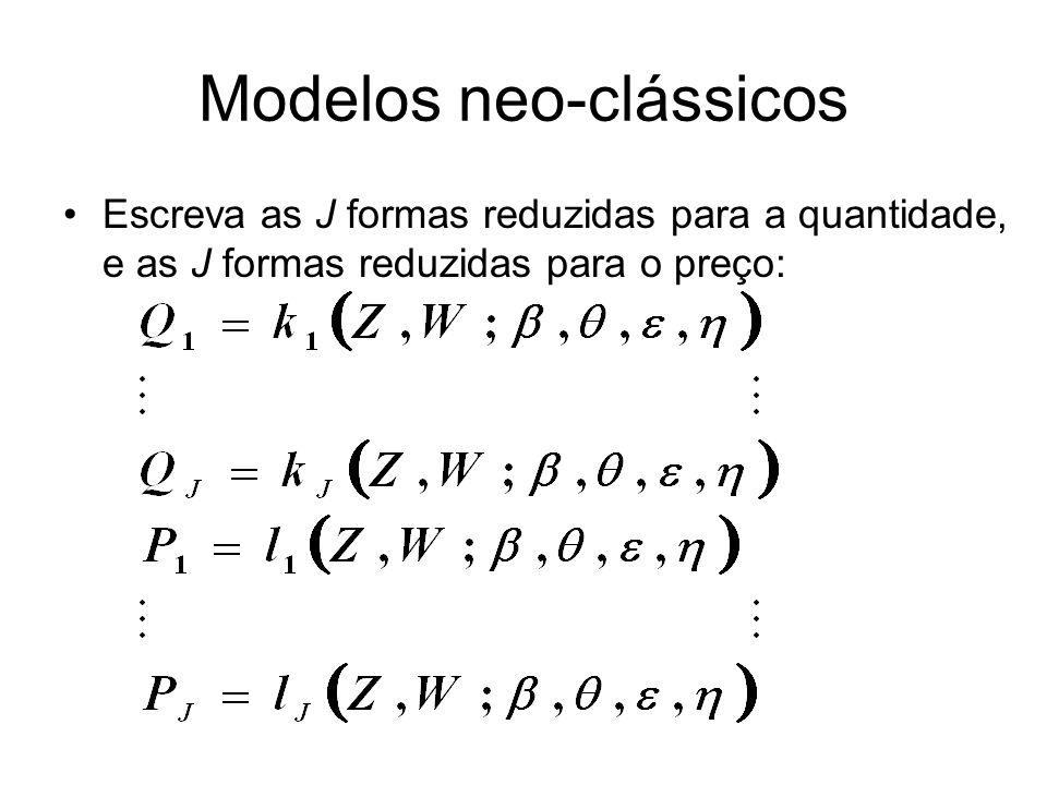 Modelos neo-clássicos Escreva as J formas reduzidas para a quantidade, e as J formas reduzidas para o preço: