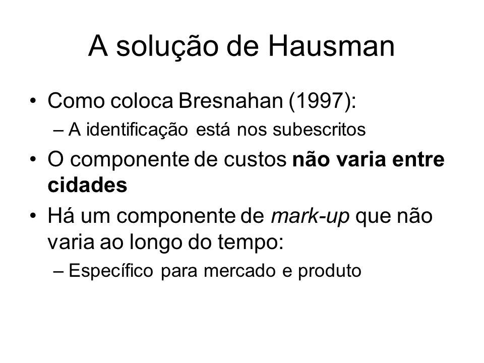 A solução de Hausman Como coloca Bresnahan (1997): –A identificação está nos subescritos O componente de custos não varia entre cidades Há um componente de mark-up que não varia ao longo do tempo: –Específico para mercado e produto