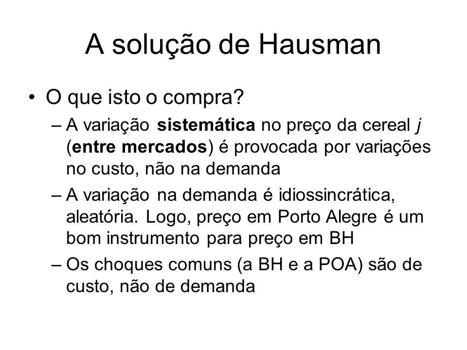 A solução de Hausman O que isto o compra? –A variação sistemática no preço da cereal j (entre mercados) é provocada por variações no custo, não na dem