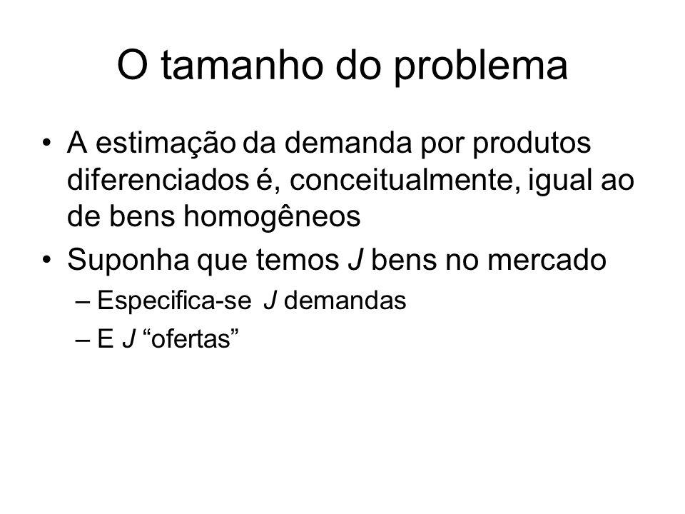 O tamanho do problema A estimação da demanda por produtos diferenciados é, conceitualmente, igual ao de bens homogêneos Suponha que temos J bens no mercado –Especifica-se J demandas –E J ofertas