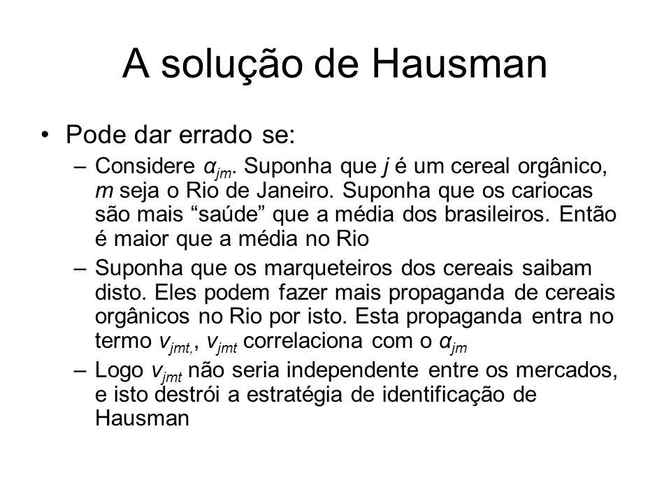 A solução de Hausman Pode dar errado se: –Considere α jm. Suponha que j é um cereal orgânico, m seja o Rio de Janeiro. Suponha que os cariocas são mai