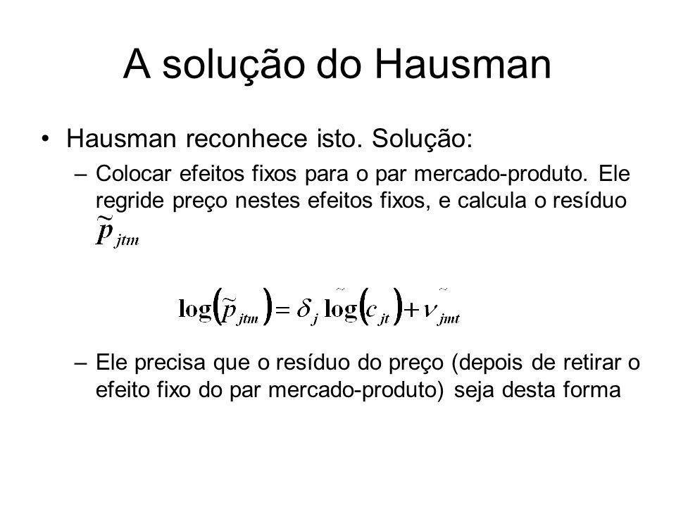 A solução do Hausman Hausman reconhece isto. Solução: –Colocar efeitos fixos para o par mercado-produto. Ele regride preço nestes efeitos fixos, e cal