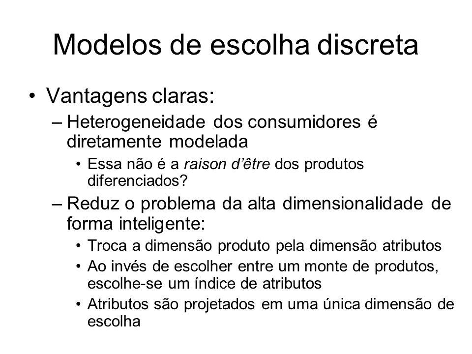 Modelos de escolha discreta Vantagens claras: –Heterogeneidade dos consumidores é diretamente modelada Essa não é a raison dêtre dos produtos diferenciados.