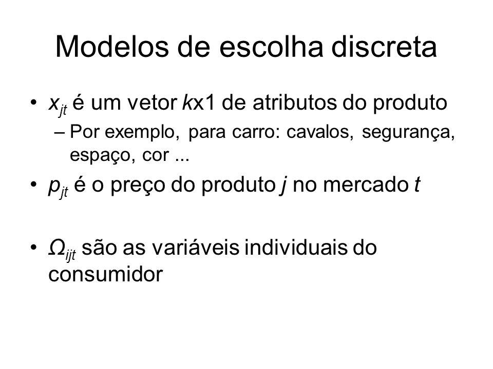 Modelos de escolha discreta x jt é um vetor kx1 de atributos do produto –Por exemplo, para carro: cavalos, segurança, espaço, cor... p jt é o preço do