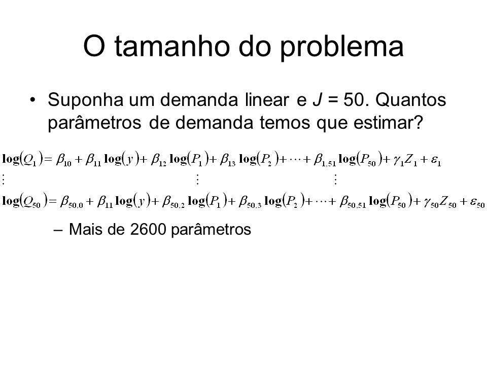 O tamanho do problema Suponha um demanda linear e J = 50. Quantos parâmetros de demanda temos que estimar? –Mais de 2600 parâmetros