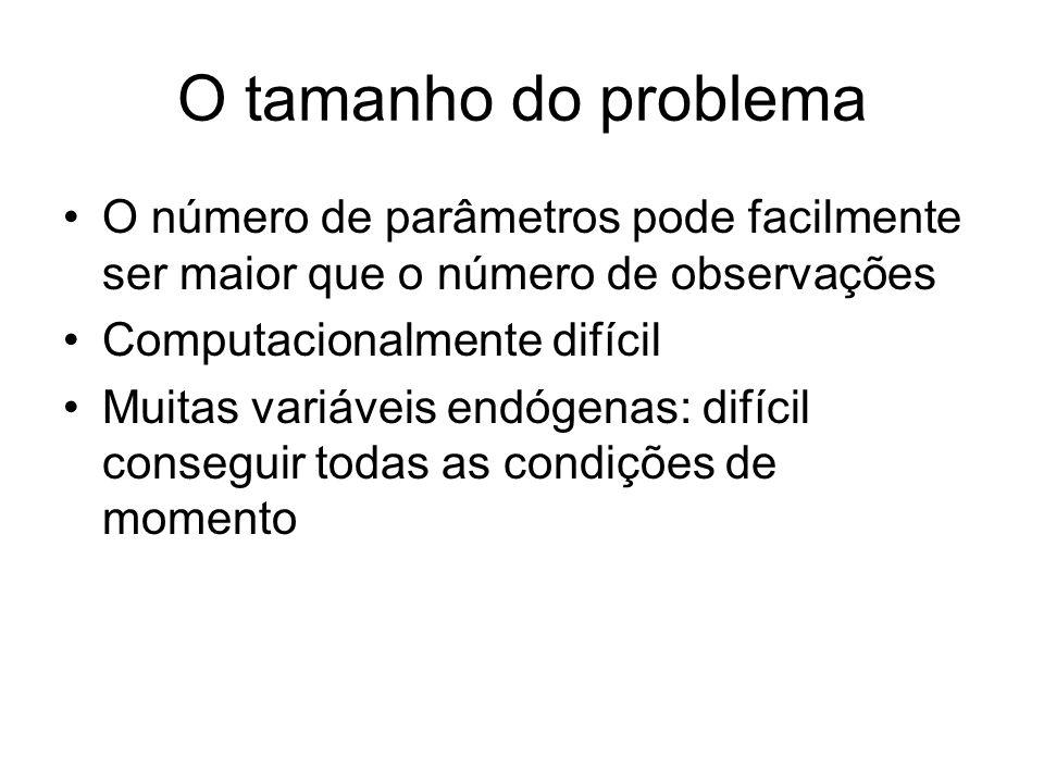 O tamanho do problema O número de parâmetros pode facilmente ser maior que o número de observações Computacionalmente difícil Muitas variáveis endógen