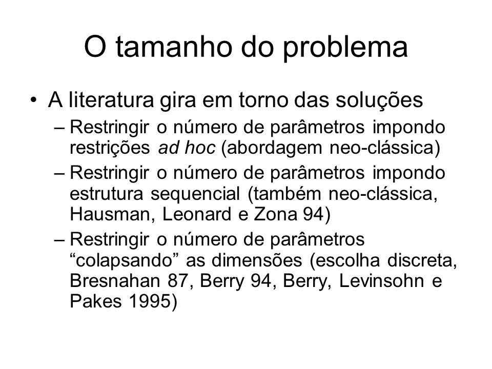 O tamanho do problema A literatura gira em torno das soluções –Restringir o número de parâmetros impondo restrições ad hoc (abordagem neo-clássica) –Restringir o número de parâmetros impondo estrutura sequencial (também neo-clássica, Hausman, Leonard e Zona 94) –Restringir o número de parâmetros colapsando as dimensões (escolha discreta, Bresnahan 87, Berry 94, Berry, Levinsohn e Pakes 1995)