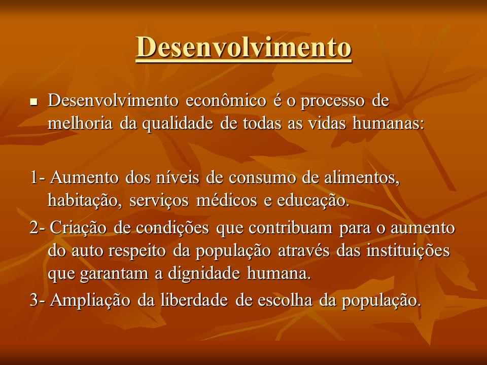 Desenvolvimento Desenvolvimento econômico é o processo de melhoria da qualidade de todas as vidas humanas: Desenvolvimento econômico é o processo de m