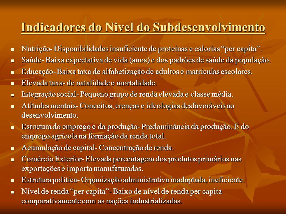 Indicadores do Nivel do Subdesenvolvimento Nutrição- Disponibilidades insuficiente de proteínas e calorías per capita. Nutrição- Disponibilidades insu