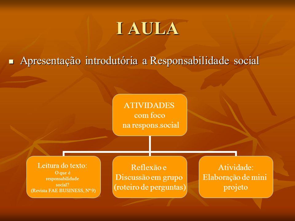 I AULA Apresentação introdutória a Responsabilidade social Apresentação introdutória a Responsabilidade social ATIVIDADES com foco na respons.social L