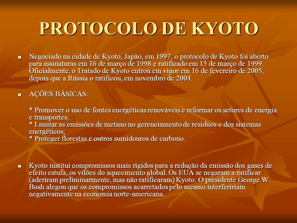 PROTOCOLO DE KYOTO Negociado na cidade de Kyoto, Japão, em 1997, o protocolo de Kyoto foi aberto para assinaturas em 16 de março de 1998 e ratificado