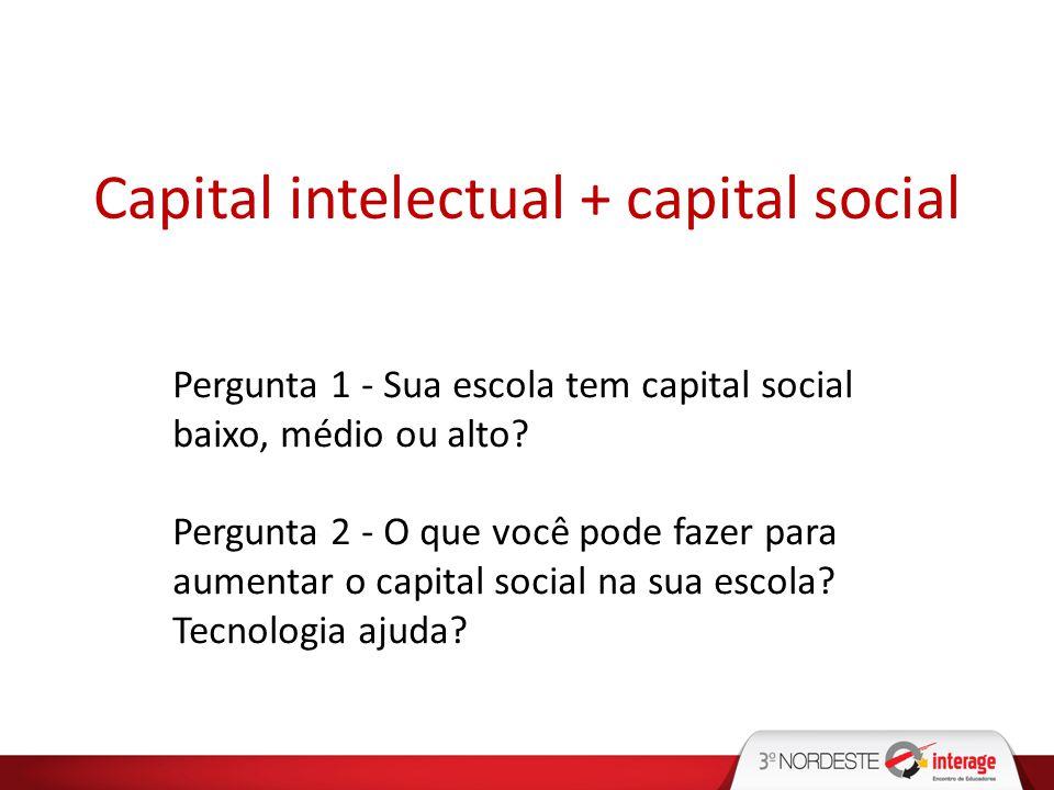 Capital intelectual + capital social Pergunta 1 - Sua escola tem capital social baixo, médio ou alto? Pergunta 2 - O que você pode fazer para aumentar