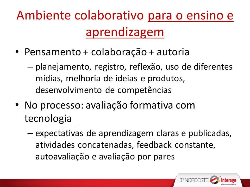 Ambiente colaborativo para o ensino e aprendizagem Pensamento + colaboração + autoria – planejamento, registro, reflexão, uso de diferentes mídias, me