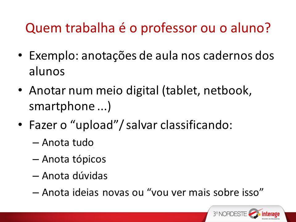Quem trabalha é o professor ou o aluno? Exemplo: anotações de aula nos cadernos dos alunos Anotar num meio digital (tablet, netbook, smartphone...) Fa