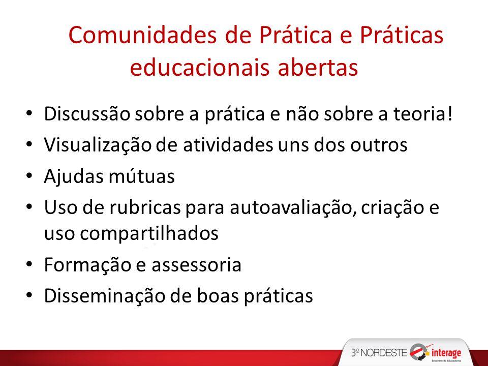Comunidades de Prática e Práticas educacionais abertas Discussão sobre a prática e não sobre a teoria! Visualização de atividades uns dos outros Ajuda