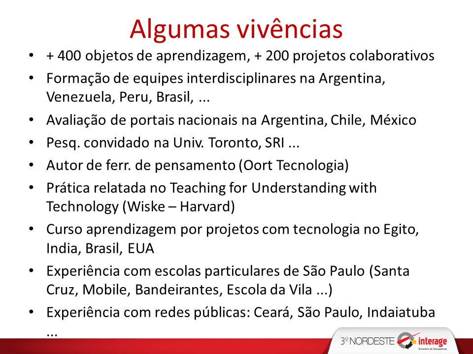 Algumas vivências + 400 objetos de aprendizagem, + 200 projetos colaborativos Formação de equipes interdisciplinares na Argentina, Venezuela, Peru, Br