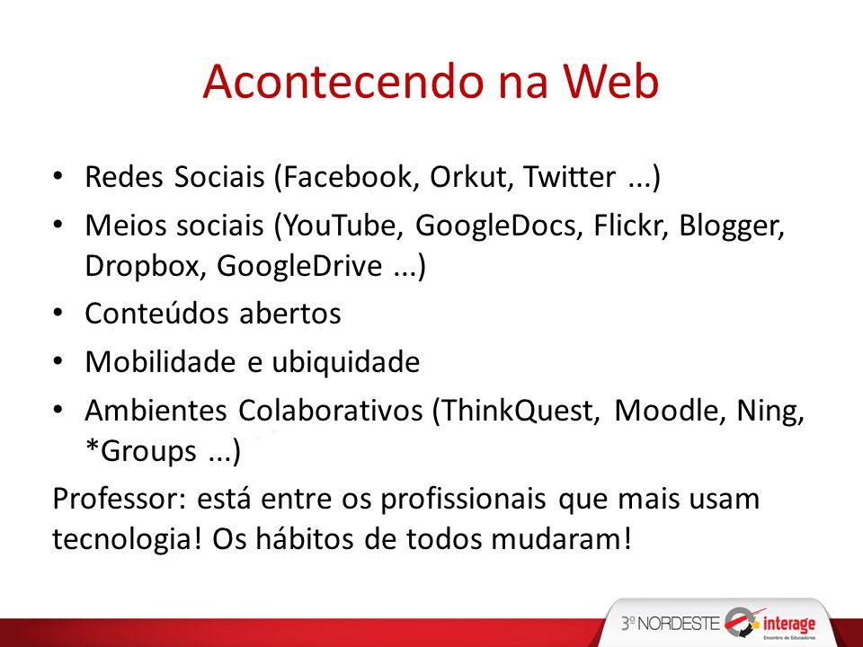 Acontecendo na Web Redes Sociais (Facebook, Orkut, Twitter...) Meios sociais (YouTube, GoogleDocs, Flickr, Blogger, Dropbox, GoogleDrive...) Conteúdos
