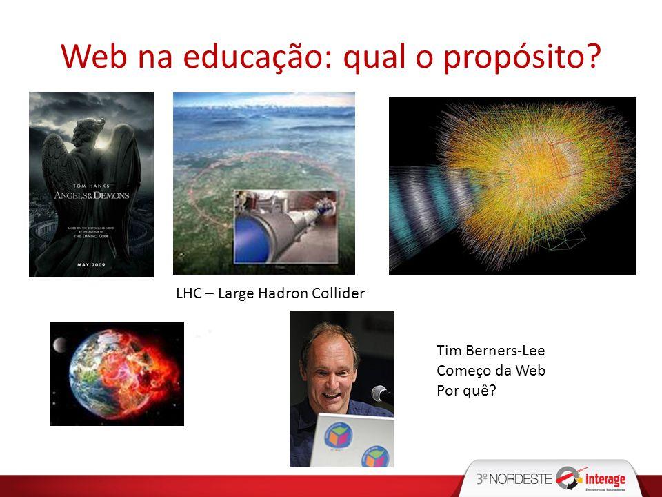 Web na educação: qual o propósito? LHC – Large Hadron Collider Tim Berners-Lee Começo da Web Por quê?