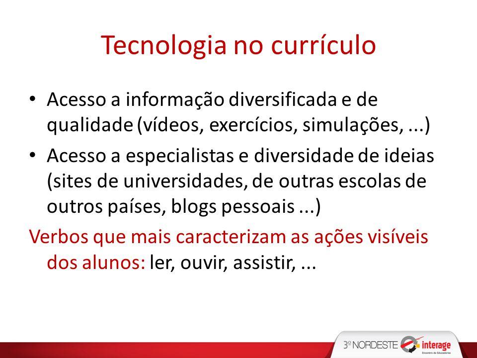Tecnologia no currículo Acesso a informação diversificada e de qualidade (vídeos, exercícios, simulações,...) Acesso a especialistas e diversidade de