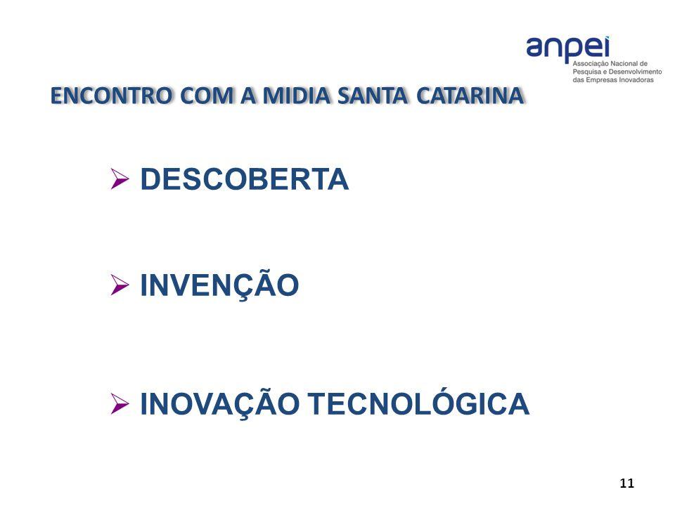 ENCONTRO COM A MIDIA SANTA CATARINA 11 DESCOBERTA INVENÇÃO INOVAÇÃO TECNOLÓGICA