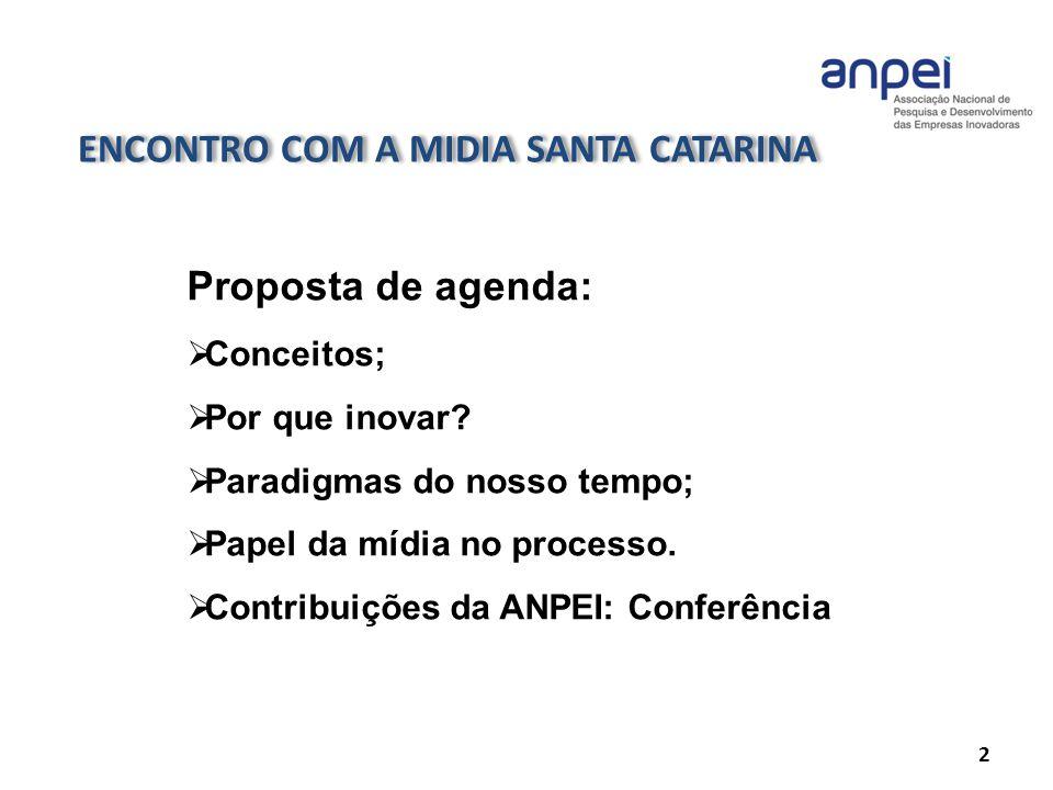 ENCONTRO COM A MIDIA SANTA CATARINA 2 Proposta de agenda: Conceitos; Por que inovar? Paradigmas do nosso tempo; Papel da mídia no processo. Contribuiç