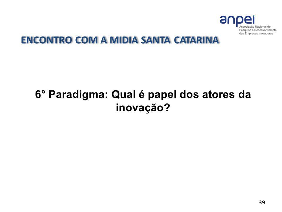 ENCONTRO COM A MIDIA SANTA CATARINA 39 6° Paradigma: Qual é papel dos atores da inovação?