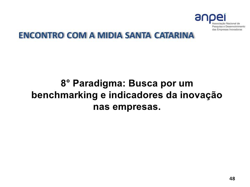 ENCONTRO COM A MIDIA SANTA CATARINA 48 8° Paradigma: Busca por um benchmarking e indicadores da inovação nas empresas.