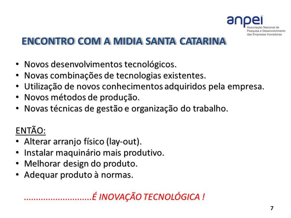 ENCONTRO COM A MIDIA SANTA CATARINA 7 Novos desenvolvimentos tecnológicos. Novos desenvolvimentos tecnológicos. Novas combinações de tecnologias exist