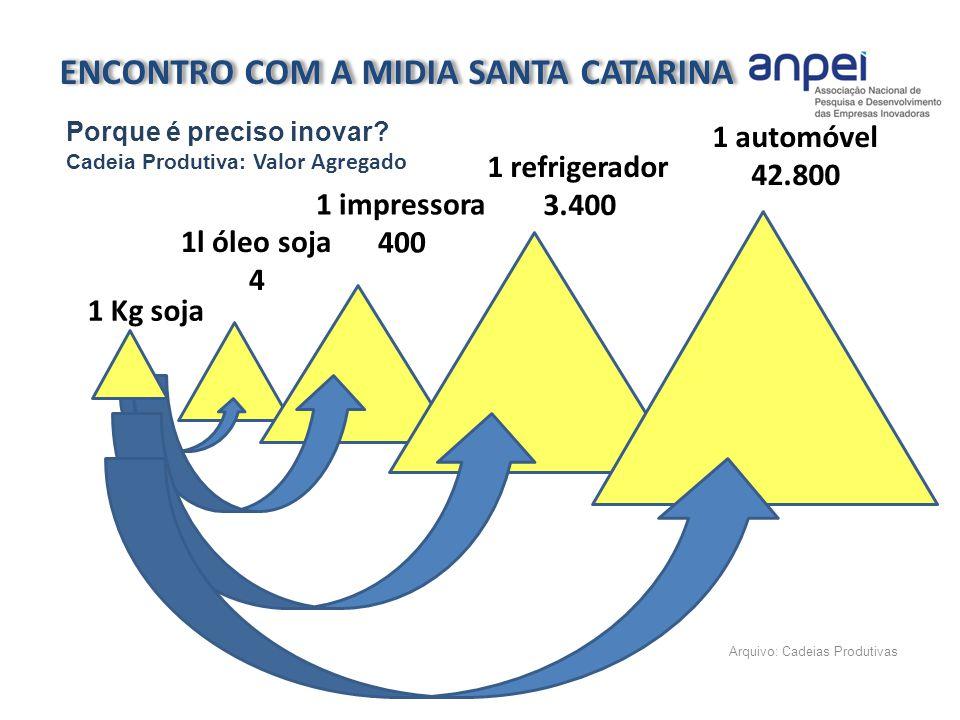 Arquivo: Cadeias Produtivas 1 Kg soja 1l óleo soja 4 1 impressora 400 1 refrigerador 3.400 1 automóvel 42.800 ENCONTRO COM A MIDIA SANTA CATARINA Porq