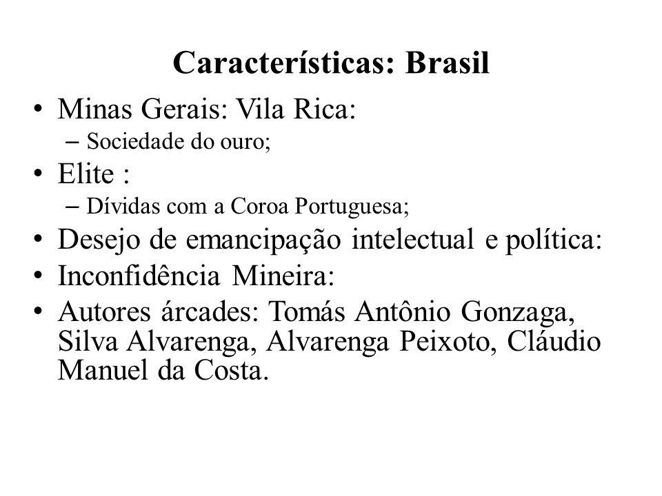 Características: Brasil Minas Gerais: Vila Rica: – Sociedade do ouro; Elite : – Dívidas com a Coroa Portuguesa; Desejo de emancipação intelectual e po