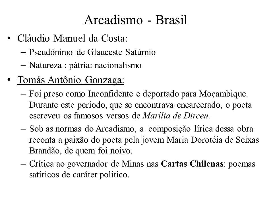 Arcadismo - Brasil Cláudio Manuel da Costa: – Pseudônimo de Glauceste Satúrnio – Natureza : pátria: nacionalismo Tomás Antônio Gonzaga: – Foi preso co