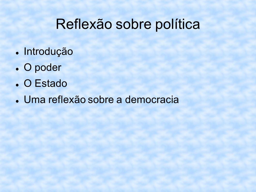Reflexão sobre política Introdução O poder O Estado Uma reflexão sobre a democracia