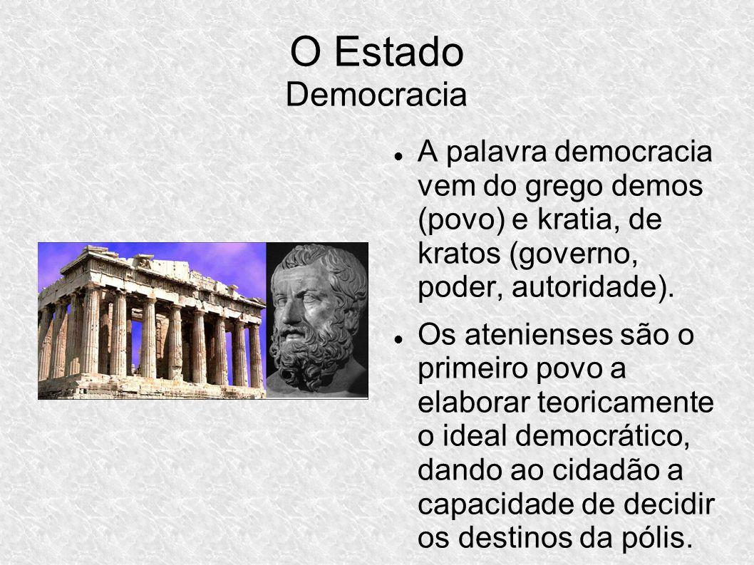 O Estado Democracia A palavra democracia vem do grego demos (povo) e kratia, de kratos (governo, poder, autoridade).