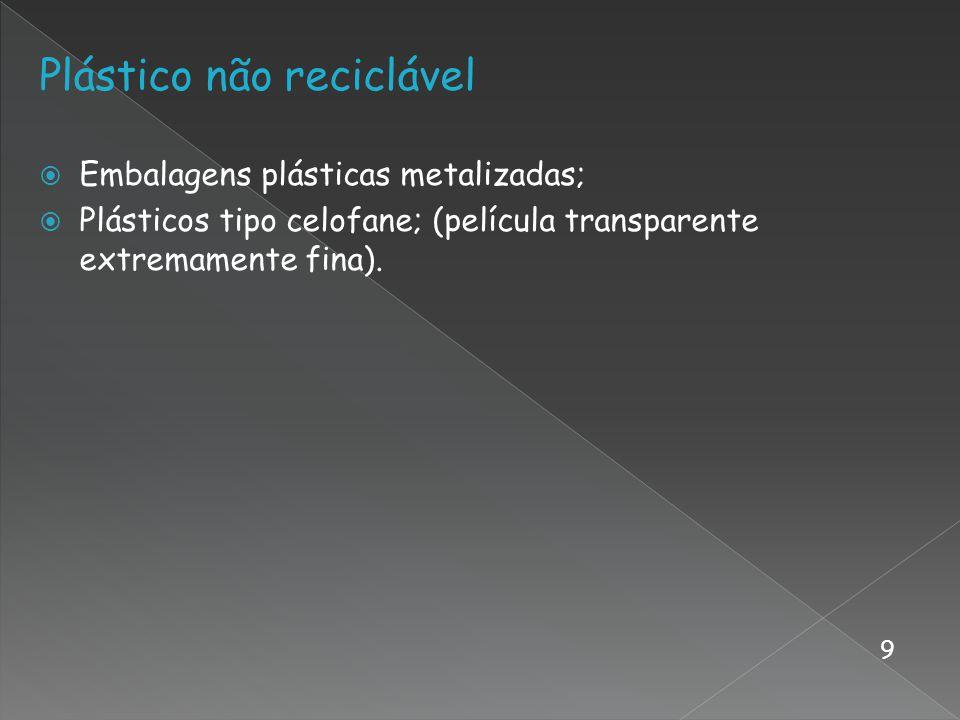Plástico não reciclável Embalagens plásticas metalizadas; Plásticos tipo celofane; (película transparente extremamente fina). 9