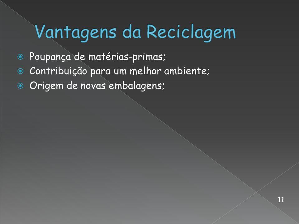 Poupança de matérias-primas; Contribuição para um melhor ambiente; Origem de novas embalagens; 11