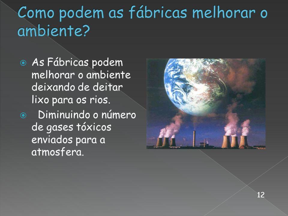 As Fábricas podem melhorar o ambiente deixando de deitar lixo para os rios. Diminuindo o número de gases tóxicos enviados para a atmosfera. 12