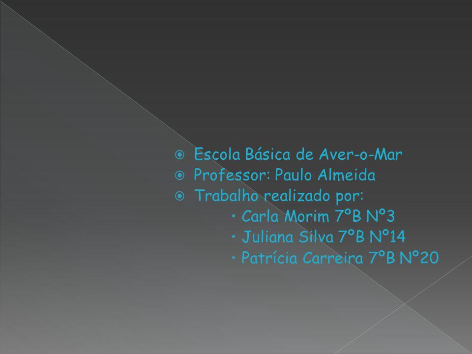 Escola Básica de Aver-o-Mar Professor: Paulo Almeida Trabalho realizado por: Carla Morim 7ºB Nº3 Juliana Silva 7ºB Nº14 Patrícia Carreira 7ºB Nº20