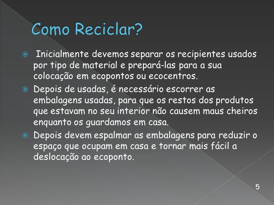 Inicialmente devemos separar os recipientes usados por tipo de material e prepará-las para a sua colocação em ecopontos ou ecocentros. Depois de usada