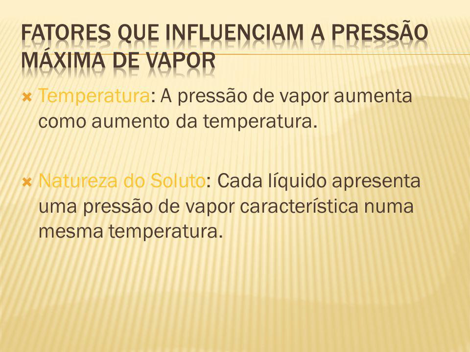 Temperatura: A pressão de vapor aumenta como aumento da temperatura.