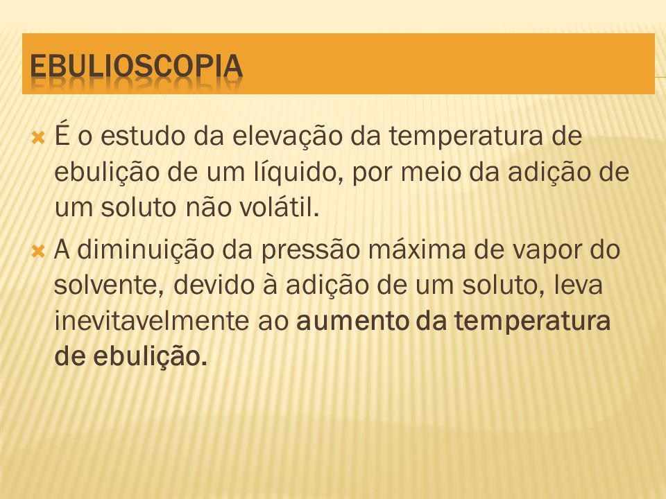 É o estudo da elevação da temperatura de ebulição de um líquido, por meio da adição de um soluto não volátil.